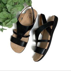 LIFE STRIDE Soft System Sandals Black Faux Leather
